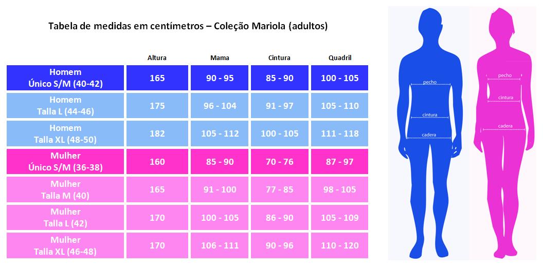 Tabela de medidas em centímetros – Coleção Mariola (adultos)