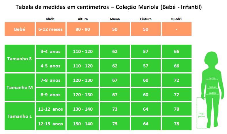 Tabela de medidas em centímetros – Coleção Mariola (Bebé - Infantil)
