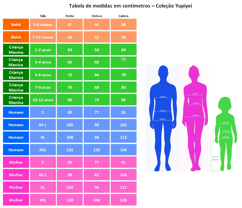 Tabela de medidas em centímetros – Coleção Yupiyei