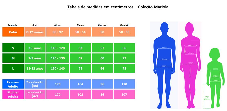 Tabela de medidas em centímetros – Coleção Mariola