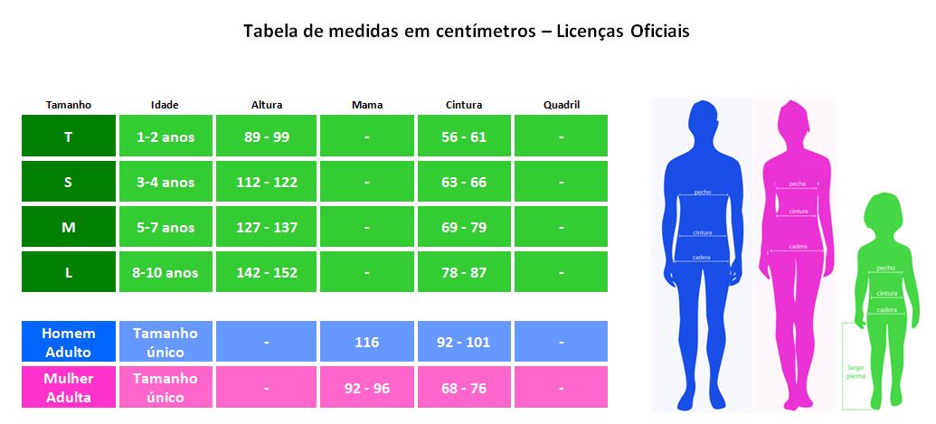 Tabela de medidas em centímetros – Licenças Oficiais