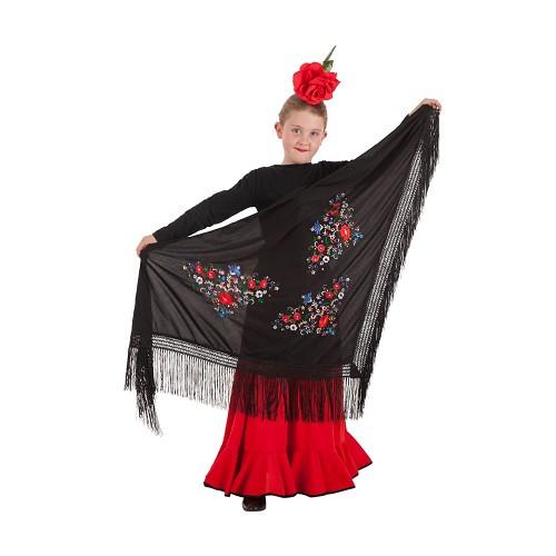 Xaile de Sevilha multi cor preto