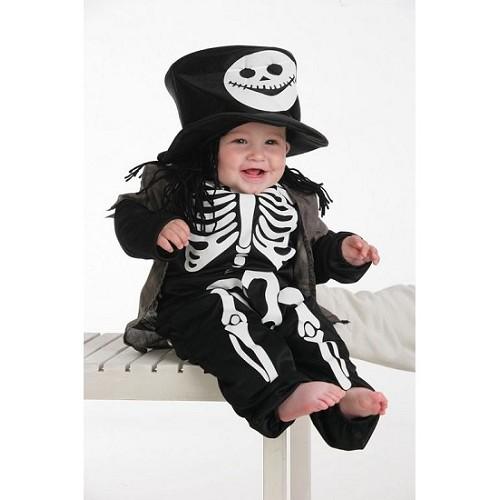 Esqueleto de bebê fantasia com cartola (0 a 12 meses)