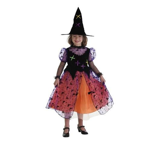 A criança fantasia Bruxa Colorin