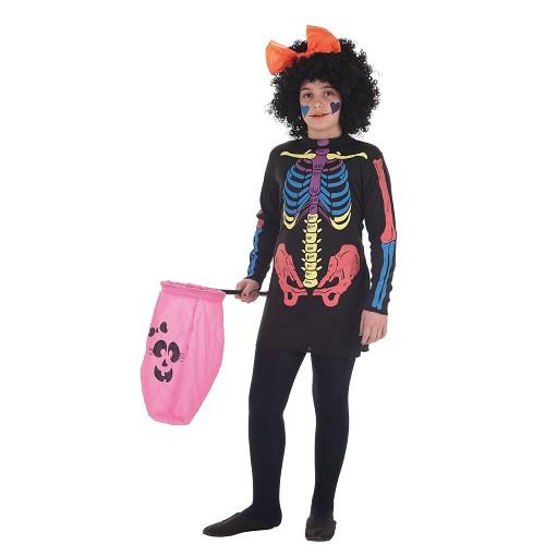 Fantasias infantil vestem cor Skeleto