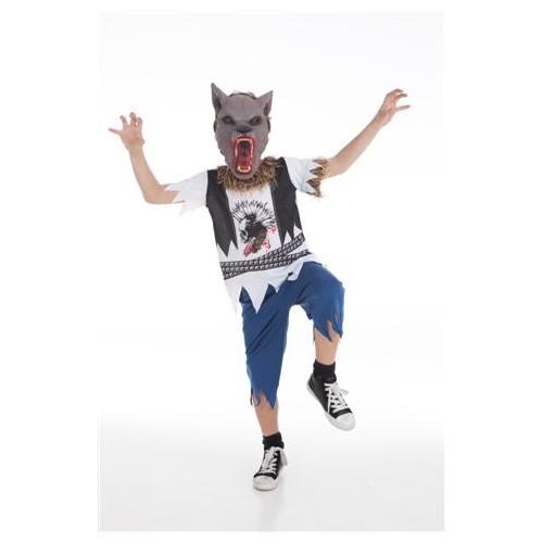 Homem de fantasia infantil lobo