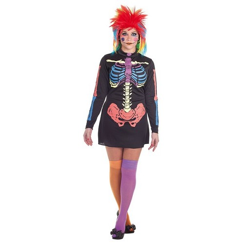 Fantasia adulto vestido cor Skeleto