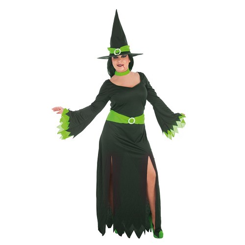 Bruxa traje adulto verde
