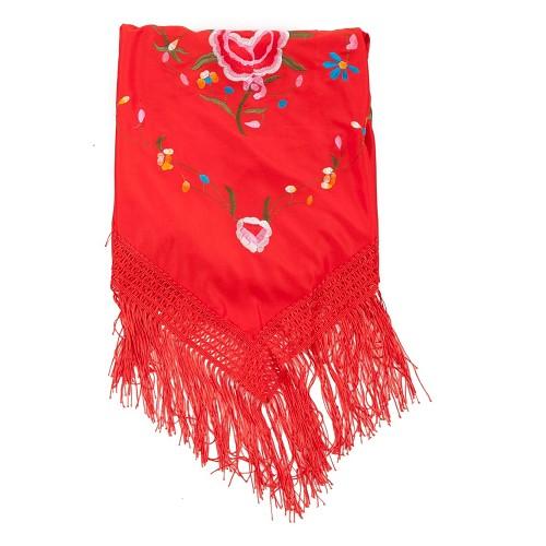 Xaile bordado vermelho Madrid
