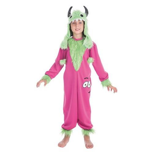 Criança traje verde monstro fofinho