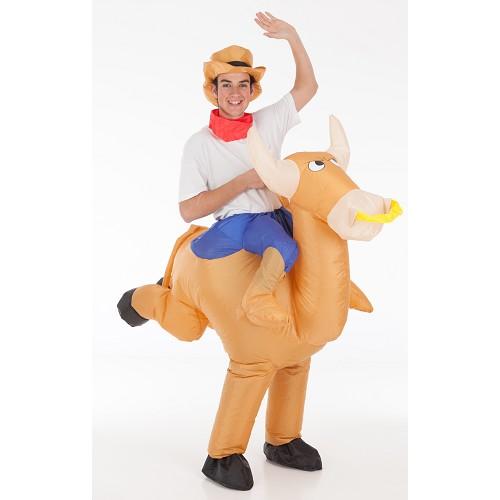 Bull com traje inflável Cowboy