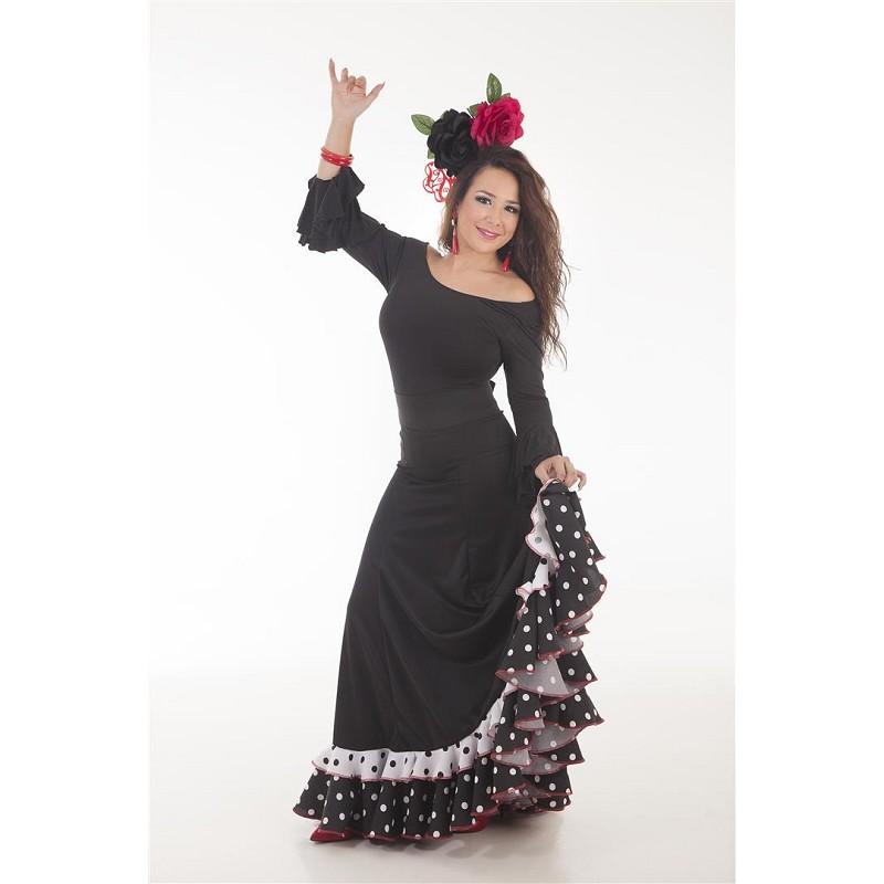 Falda Sevillana Blanco/Negro Baile