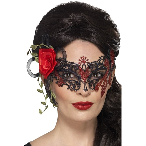 Máscara Rosa Roja Catrina Lux