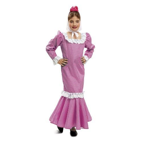 Disfraz Madrileña Rosa Niña