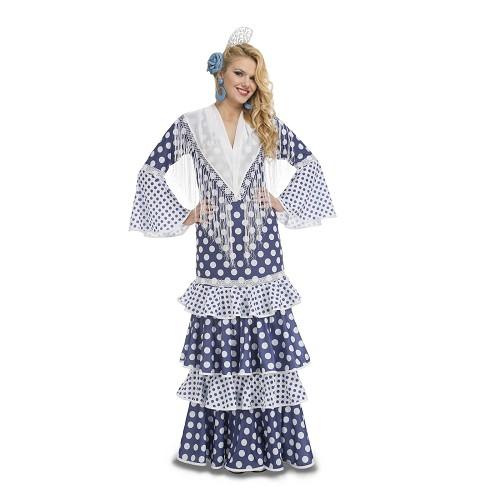 Disfraz Flamenca Leá Azul S Mujer