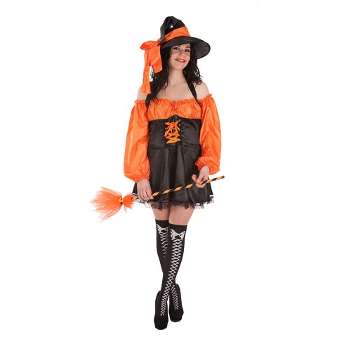 Fantasia adulto bruxa laranja (curto)