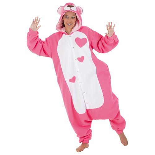 Fantasia adulto engraçado Teddy rosa t-l